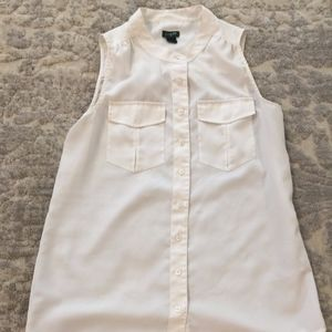 J. Crew Ivory Sheer Blouse, Sz 4 with pockets